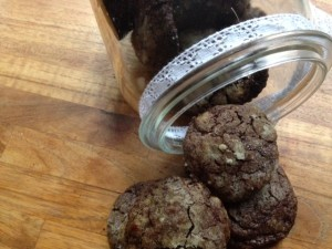 Chewy chocolade jamkoekjes