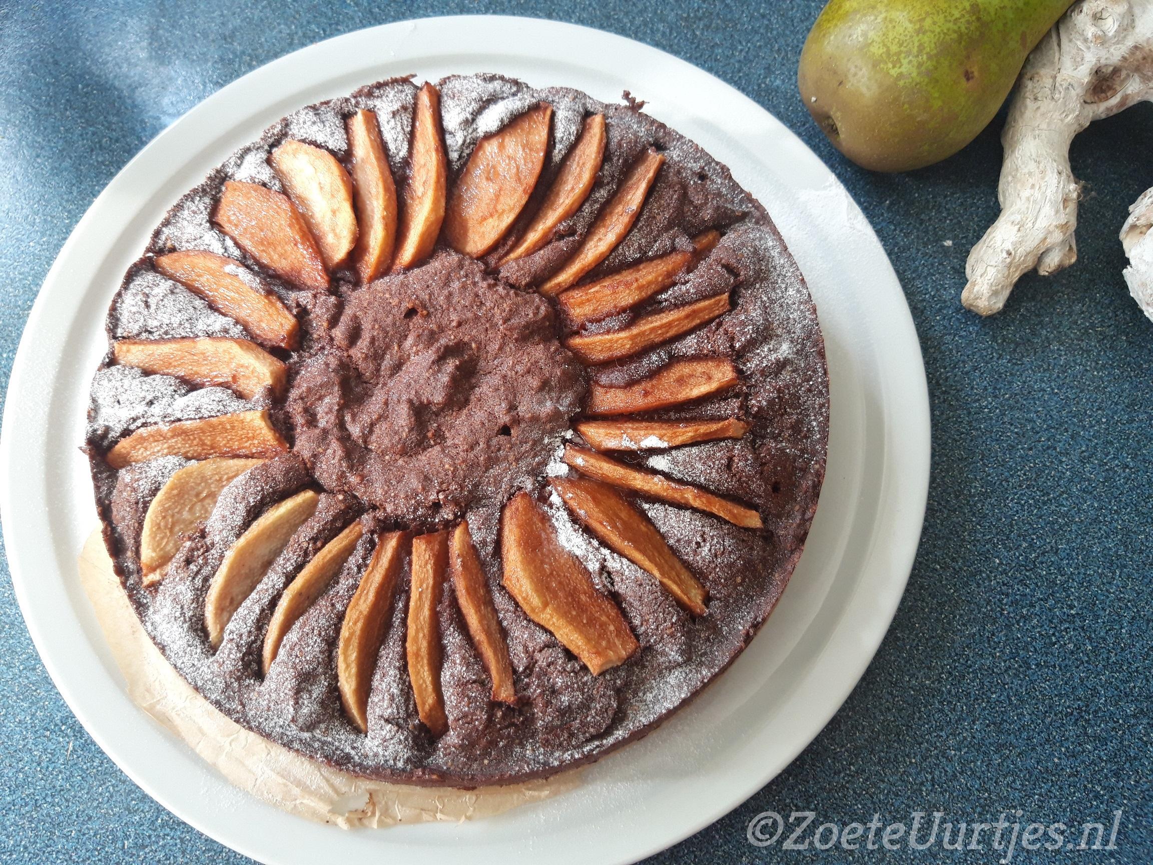 cake met peren en chocolade